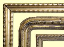 1. Wellenleiste, 2. Französischer Rahmen, 3. Vergoldeter Rahmen